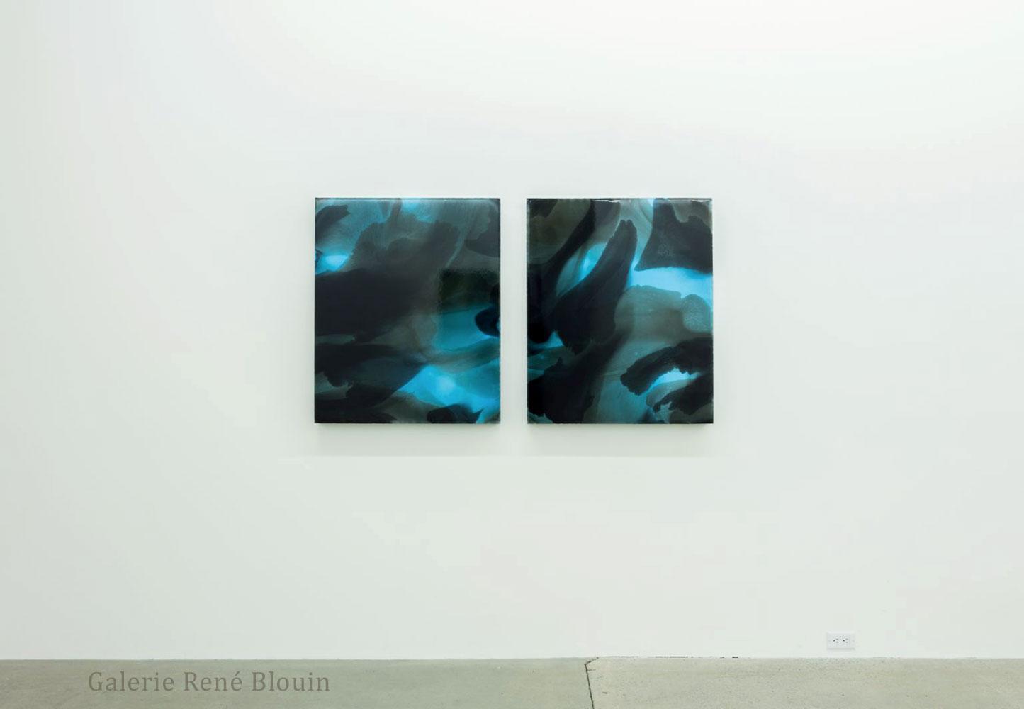 Petites lueurs bleues II (diptyque), 2015 encre et acrylique sur toile, François Lacasse : Vue d'exposition 2016, Crédit photo : Richard-Max Tremblay