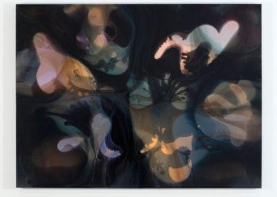 Phase V concrétion I, 2015, encre et acrylique sur toile, François Lacasse : Vue d'exposition 2016, Crédit photo : Richard-Max Tremblay