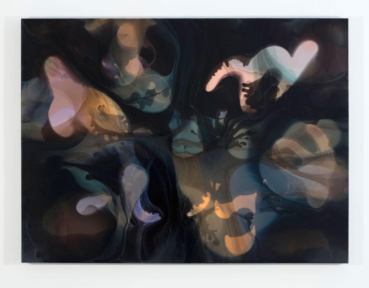 François Lacasse | Phase V concrétion I, 2015, encre et acrylique sur toile, François Lacasse : Vue d'exposition 2016, Crédit photo : Richard-Max Tremblay