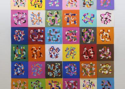 Serge Murphy |  Géographies 2016 dessins à la gouache sur carton de couleur  119 x 119 pouce    Photo credit : Guy L'Heureux