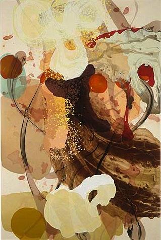 Les voies naturelles, 2002 acrylique et encre sur toile 228,5 x 152,5 cm