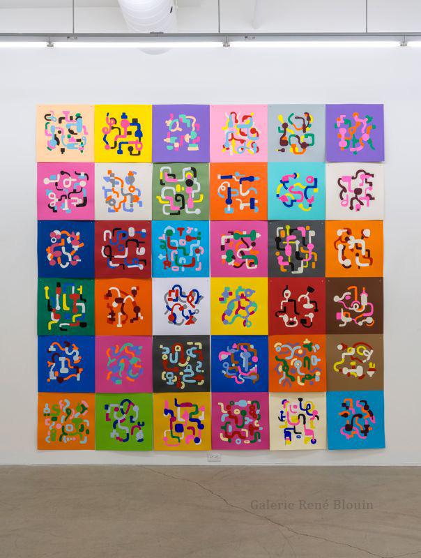 Serge Murphy, Géographies, 2016, 36 dessins à la gouache sur carton de couleur, 119 x 119 pouces