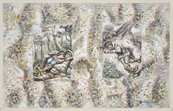 """Two Ogres, 2010 Acrylique sur toile 137,2 x 218,4 cm / 54"""" x 86"""", Carol Wainio, Vue de l'exposition (2011) Photo: Guy L'Heureux"""