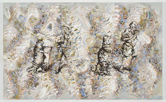 """The Reapers, 2010 Acrylique sur toile 111,8 x 182,8 cm / 44"""" x 72"""", Carol Wainio, Vue de l'exposition (2011) Photo: Guy L'Heureux"""