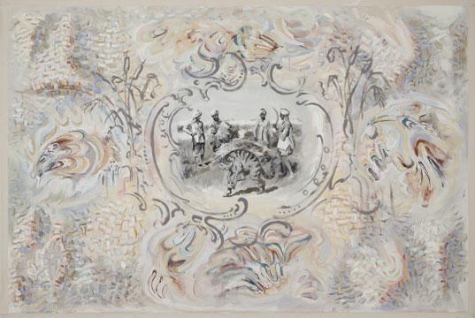 """Le Maître Chat (harvest) #2, 2010 Acrylique sur toile 111,8 x 167,6 cm / 44"""" x 66,"""" Carol Wainio, Vue de l'exposition (2011) Photo: Guy L'Heureux"""