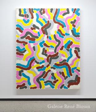 François Lacasse, Grande compilation, I 2011 huile sur toile 189,5 x 152,5 cm / 75 x 60 pouces, Vue de l'exposition (2011), Crédit photo : Mathieu Sirois