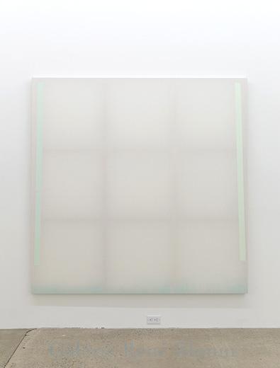Chris Kline, Divider 2, 2011, dispersion de pigments acryliques et aqueux sur popeline, faux-cadre de bois, 185 x 185 cm / 72 x 72 pouces, Vue de l'exposition: Miroirs 30 novembre 2013 au 25 janvier 2014, Photo: Guy L'Heureux