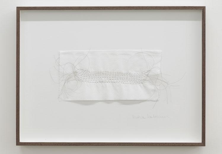 Stream (centre) 2013, cheveux sur papier, 10 x 20 cm / 3.9 x 7.8 pouces, Vue de l'exposition : Mona Hatoum SALLES 1 ET 2 27 septembre au 8 novembre 2014, Photo: Guy L'Heureux