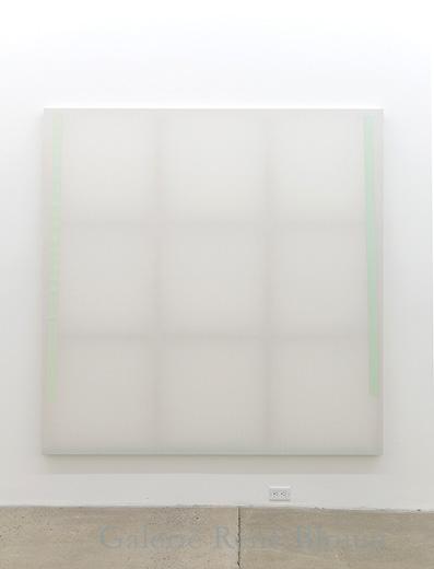 Chris Kline, Divider4, 2011, dispersion de pigments acryliques et aqueux sur popeline, faux-cadre de bois, 185 x 185 cm / 72 x 72 pouces, Vue de l'exposition: Miroirs 30 novembre 2013 au 25 janvier 2014, Photo: Guy L'Heureux