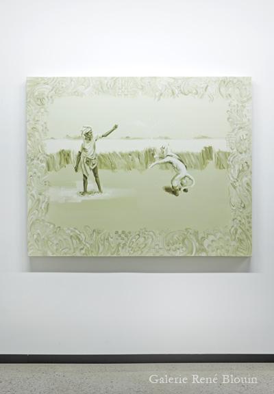 Carol Wainio, Field of Carabus (2), 2011 acrylique sur toile 121,9 x 152,4 cm / 48 x 60 pouces, 25 ans : Exposition de groupe, Vue de l'exposition (2011) Photo: Richard-Max Tremblay