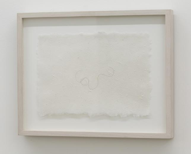 Hair Drawing 2003, cheveux et papier fait main, 15 x 21 cm / 6 x 8.25 pouces, Vue de l'exposition : Mona Hatoum SALLES 1 ET 2 27 septembre au 8 novembre 2014, Photo: Guy L'Heureux