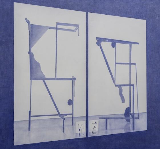 Revolving multiple orientations, 2014 acrylique sur toile de lin, 170 x 182,8 cm / 67 x 72 pouces, Vue de l'exposition : Anthony Burnham15 novembre au 20 décembre 2014,Photo: Guy L'Heureux
