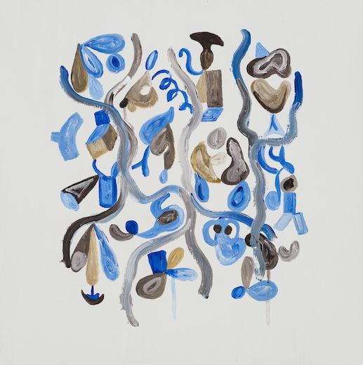 Serge Murphy, Retouche à la fête I, 2014 acrylique sur panneau de bois, 50 x 50 cm / 19.6 x 19.6 pouces, Vue de l'exposition : Ari Bayuaji et Serge Murphy, (2014) Photo: Guy L'Heureux