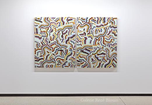 Compilation double I, 2009 diptyque huile sur toile 127 x 203 cm / 50 x 40 pouces (chaque panneau), François Lacasse, Vue de l'exposition (2011), Crédit photo : Mathieu Sirois