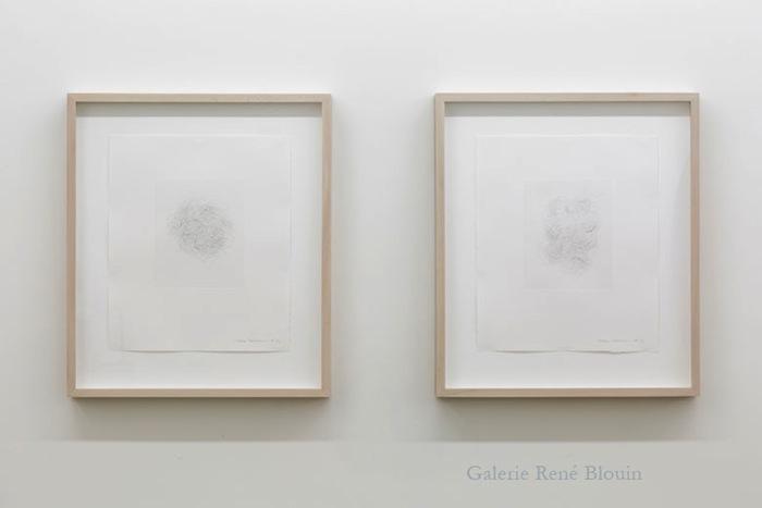 Hair and There 2004, É/A, diptyque, gravure, 48,3 x 40,6 cm / 19 x 15.9 pouces, Vue de l'exposition : Mona Hatoum SALLES 1 ET 2 27 septembre au 8 novembre 2014, Photo: Guy L'Heureux