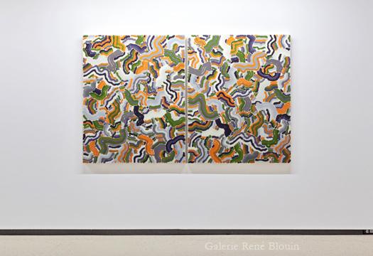 Compilation double III, 2010 diptyque huile sur toile 127 x 203 cm / 50 x 40 pouces (chaque panneau), François Lacasse, Vue de l'exposition (2011), Crédit photo : Mathieu Sirois