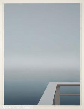 Pierre Dorion Traverse II, 2007 huile sur toile de lin 182,9 x 137,2 cm / 72 x 54 pouces, GRIS, vue d'installation, 2007