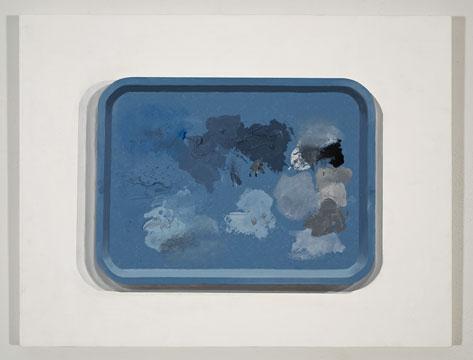 Plateau (bleu), 2009 huile sur contreplaqué 50 x 66 cm / 19.7 x 26 pouces, Anthony Burnham, Vue de l'exposition (2010), Photo: Richard-Max Tremblay