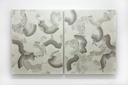 François Lacasse, COMPILATION DOUBLE IV, 2011 diptyque huile sur toile 127 x 203 cm / 50 x 40 pouces (chaque panneau), 25 ans : Exposition de groupe, Vue de l'exposition (2011) Photo: Richard-Max Tremblay