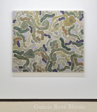 Compilation mixte III, 2011 huile sur toile 137,2 x 160 cm / 54 x 63 pouces, François Lacasse, Vue de l'exposition (2011), Crédit photo : Mathieu Sirois