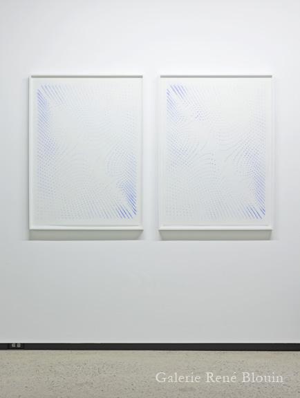 Marie-Claire Blais, Le Zéro et l'Infini 1a et 1b, 2011 diptyque, pigments sur papier 76 x 101 cm / 30 x 40 pouces, 25 ans : Exposition de groupe, Vue de l'exposition (2011) Photo: Richard-Max Tremblay