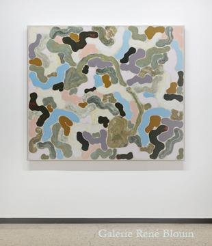 Compilation mixte II, 2011 huile sur toile 137,2 x 160 cm / 54 x 63 pouces, François Lacasse, Vue de l'exposition (2011), Crédit photo : Mathieu Sirois
