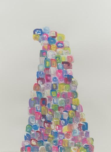 Serge Murphy, Retouche à la vie I, 2014 gouache sur papier Arches, 77 x 55 cm ( 30.3 x 21.6 pouces ), Vue de l'exposition : Ari Bayuaji et Serge Murphy, (2014) Photo: Guy L'Heureux