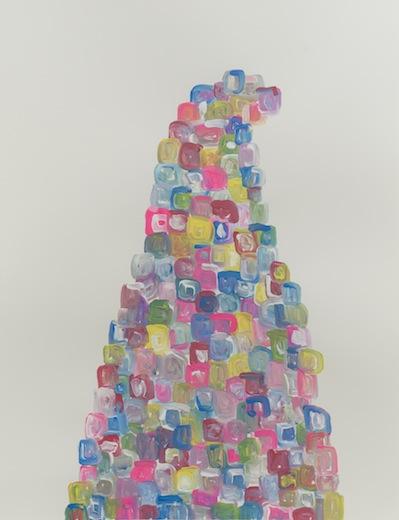 Serge Murphy, Retouche à la vie II, 2014 gouache sur papier Arches, 77 x 55 cm / 30.3 x 21.6 pouces, Vue de l'exposition : Ari Bayuaji et Serge Murphy , (2014) Photo: Guy L'Heureux