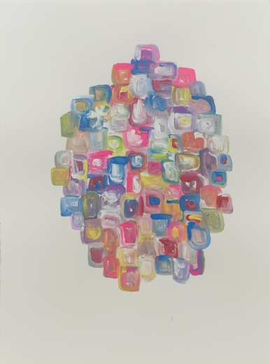 Serge Murphy, Retouche au bonheur IV, 2014 gouache sur papier Arches, 77 x 55 cm / 30.3 x 21.6 pouces, Vue de l'exposition : Ari Bayuaji et Serge Murphy, (2014) Photo: Guy L'Heureux