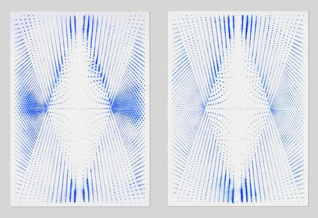 (1) Marie-Claire Blais, Le Zéro et l'Infini 3a, 2011 pigments secs sur papier, 76 x 101 cm / 30 x 40 pouces, (2) Marie-Claire Blais, Le Zéro et l'Infini 3b, 2011 pigments secs sur papier, 76 x 101 cm / 30 x 40 pouces, Marie-Claire Blais | Simon, Vue de l'exposition (2015) Photo: Richard-Max Tremblay