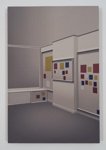 Sao Paolo (Mondrian's studio), 2015, huile sur toile de lin, 60, 9 x 40,6 cm / 24 x 16 pouces, Pierre Dorion, Vue de l'exposition Crédit Photo: Richard-Max Tremblay