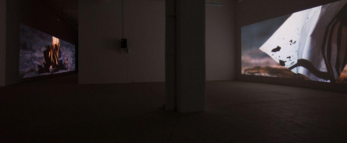 Marie-Claire Blais et Pascal Grandmaison LA VIE ABSTRAITE : ESPACE DU SILENCE, 2016 Quatre projections synchronisées, 35 minutes, vue d'installation Galerie René Blouin 2016