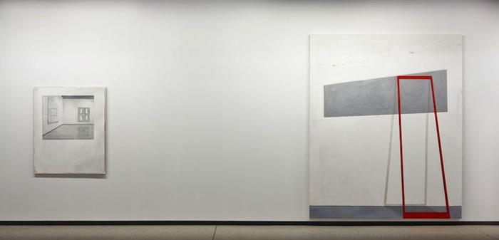 """RIGHT:  Exhibition view, Walter Phillips Gallery, """"Perspective Correction Hinged, Corrected by the Lens Sigma DC 17-70mm 1:2.8-4.5, and """"Even Space Does Not Repeat"""", 2011 huile sur toile de lin, 115 x 95 cm / 45.2 x 37.4 poucesLEFT: Sculpture of Perspective Correction 2011, huile sur toile, 244 x 200 cm / 96 x 78.7 pouces  Vue de l'exposition (2012), Photo: Guy L'Heureux, Anthony Burnham, 31 mars au 5 mai 2012, Vue de l'exposition (2012), Photo: Guy L'Heureux"""