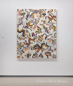 Compilation I 2010 huile sur bois 152,5 x 122 cm / 60 x 48 pouces, François Lacasse, Vue de l'exposition (2011), Crédit photo : Mathieu Sirois