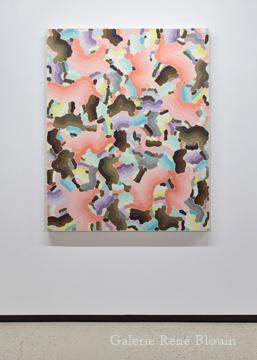 Compilation VIII 2010 huile sur toile 139,7 x 111,8 cm / 55 x 44 pouces, François Lacasse, Vue de l'exposition (2011), Crédit photo : Mathieu Sirois