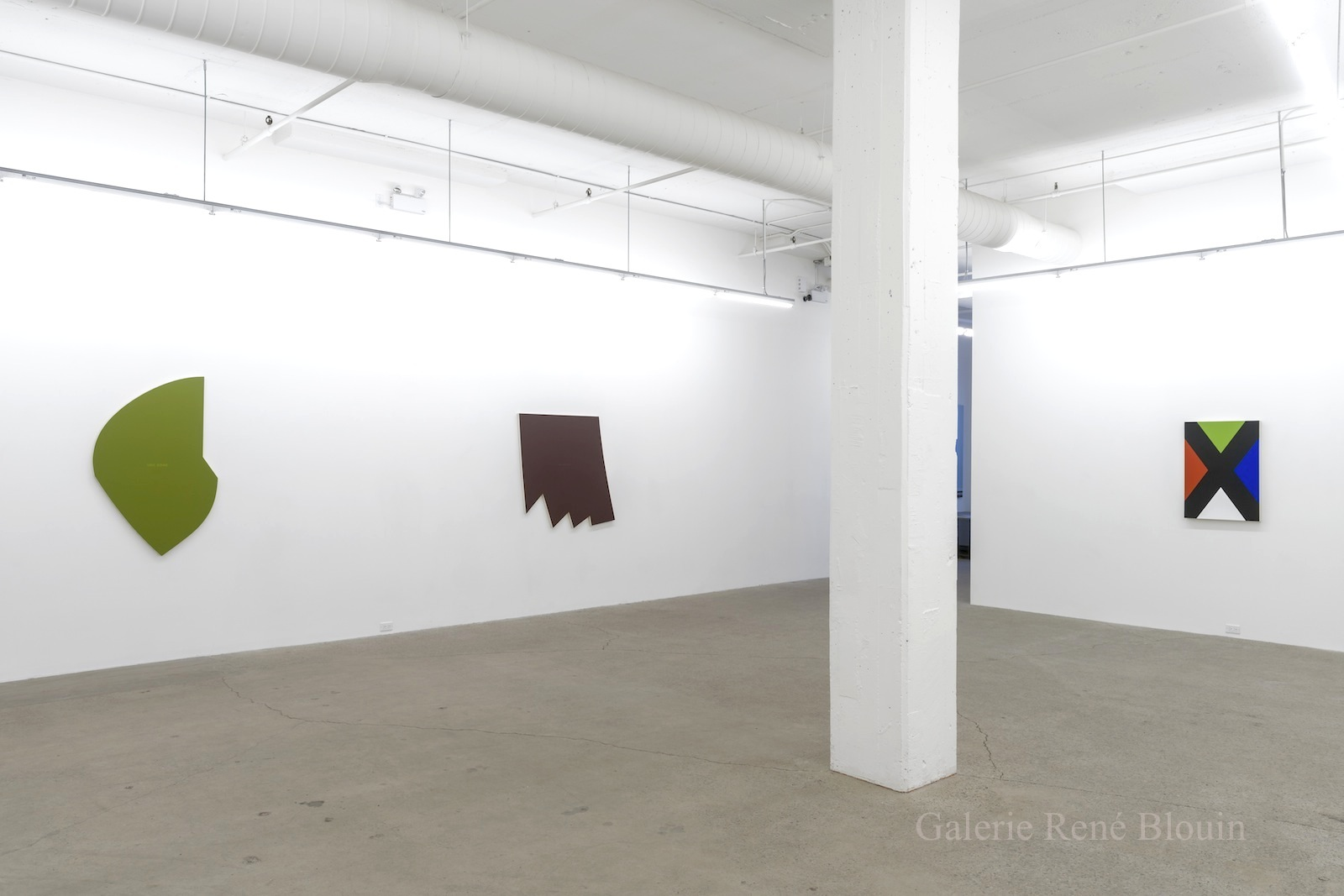 Vue d'installation : Géométries (2016) Daniel Langevin   Pierre Dorion   Francine Savard Crédit photo : Guy L'Heureux