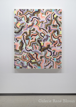 Compilation V 2010 huile sur toile 139,7 x 111,8 cm / 55 x 44 pouces, François Lacasse, Vue de l'exposition (2011), Crédit photo : Mathieu Sirois