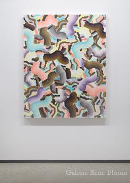 Compilation VII 2010 huile sur toile 139,7 x 111,8 cm / 55 x 44 pouces, François Lacasse, Vue de l'exposition (2011), Crédit photo : Mathieu Sirois