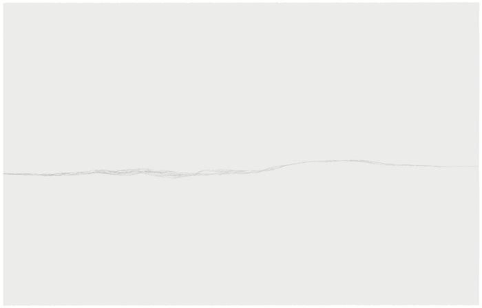 Marie-Claire Blais, Malgré-moi 3, 2006 mine de plomb sur papier Stonehenge monté sur carton muséologique, 127 x 203,2 cm / 50 x 80 pouces, Vue de l'exposition, Blancs Marie-Claire Blais | Geneviève Cadieux | Chris Kline28 juin au 20 septembre 2014, Crédit photo : Guy L'Heureux