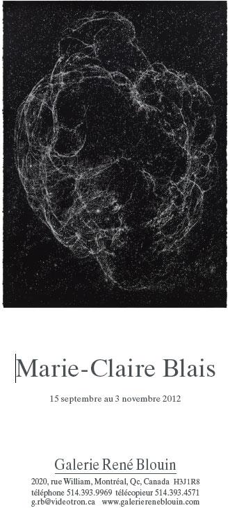 INVITATION: Vue de l'exposition, Marie-Claire Blais 15 septembre au 23 novembre 2012, Photo: Pascal Grandmaison
