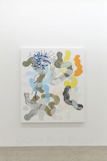 Composé inorganique II, 2013, huile sur toile, 160 x 137,2 cm / 63 x 54 pouces, Vue de l'exposition: François Lacasse22 mars au 3 mai 2014, Photo: Guy L'Heureux