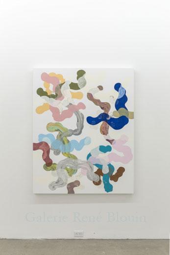 Composé inorganique IX, 2013, huile sur toile, 160 x 137,2 cm / 63 x 54 pouces, Vue de l'exposition: François Lacasse22 mars au 3 mai 2014, Photo: Guy L'Heureux