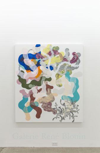 Composé inorganique VI, 2013, huile sur toile, 160 x 137,2 cm / 63 x 54 pouces, Vue de l'exposition: François Lacasse22 mars au 3 mai 2014, Photo: Guy L'Heureux