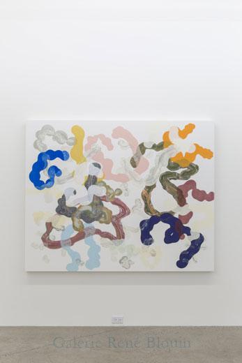 Composé inorganique XI, 2013, huile sur toile, 152,5 x 189,5 cm / 60 x 74.6 pouces, Vue de l'exposition: François Lacasse22 mars au 3 mai 2014, Photo: Guy L'Heureux