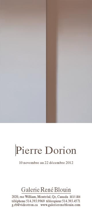 INVITATION: Pierre Dorion 10 novembre au 22 décembre 2012