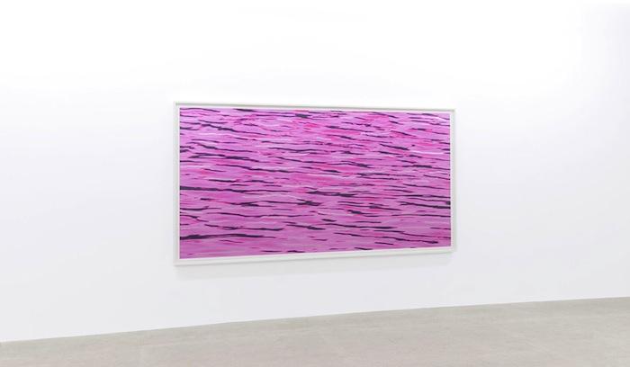 Flow, 2013 pièce unique, impression au jet d'encre pigmentée sur papier chiffon, feuille d'aluminium, 154,9 x 298,4 cm / 61 x 117.5 pouces, Geneviève Cadieux, Vue de l'exposition (2015) Photo: Guy L'Heureux