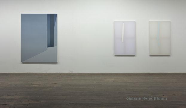 (1) Pierre Dorion Sans titre (23rd Street), 2010 huile sur toile de lin 182,9 x 137,2 cm / 72 x 54 pouces (2) Chris Kline Untitled (Tape) 6, 2010 acrylique sur popeline faux-cadre de bois 128,3 x 82,6 cm / 50.5 x 32.5 pouces (3) Chris Kline Untitled (Blue) 3, 2010 acrylique sur popeline faux-cadre de bois 128,3 x 82,6 cm / 50.5 x 32.5 pouces, Vue de l'exposition (2011): Exposition de groupe ( Pierre Dorion, Anthony Burnham, Chris Kline, Marie-Claire Blais, Nicolas Baire ), Photos: Richard-Max Tremblay