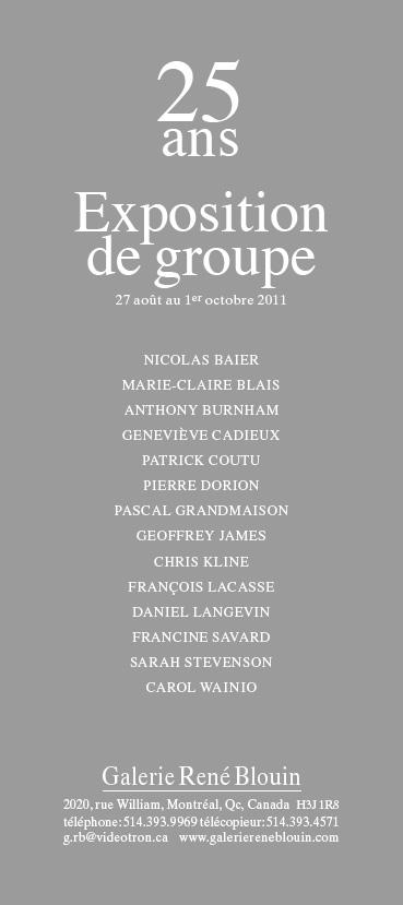 25 ans : Exposition de groupe, INVITATION (2011) Photo: Richard-Max Tremblay