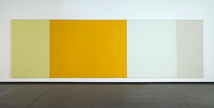 Js + Ps, 1989-1990,  (triptyque) acrylique sur toile 183 x 610 cm / 72 x 240 pouces (l'ensemble), Yves Gaucher,  Vue de l'exposition (2011)  Crédit photo : Richard-Max Tremblay