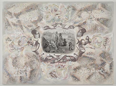 """Le petit poucet, 2011 Acrylique sur toile 198,1 x 269,2 cm / 78"""" x 106"""", Carol Wainio, Vue de l'exposition (2011) Photo: Guy L'Heureux"""